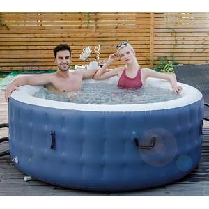 DURAERO Whirlpool aufblasbar SPA, bis 4 Personen, 110 Massagedüsen, Außenwänden aus robustem Material, geeignet für In- & Outdoor, Kabelose Fernbedienung, 180x70cm, Dunkelblau