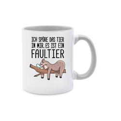 Shirtracer Tasse Das Tier in mir Faultier - Statement - Tasse zweifarbig - Tassen, tasse tier