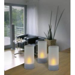 IOIO 98694 LED-Teelicht 3er Set LED Milchglas, Silber