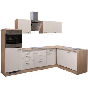 Eckküche NEPAL - L-Küche mit E-Geräten - Breite 280 x 170 cm - Creme glänzend