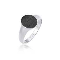 Kuzzoi Silberring Basic Cool Siegelring Herren Matt 925 Silber, Siegelring schwarz 56