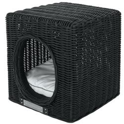 Hundehöhle Katzenhöhle aus Rattan, 41 cm x 41 cm x 46 cm, schwarz