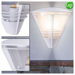 etc-shop LED Laterne, Außen Wand Strahler ALU Laterne Veranda Terrassen Lampe weiß im Set inkl. LED Leuchtmittel