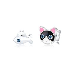 Elli Paar Ohrstecker Kinder Katze Fisch Kristalle 925 Silber, Katze