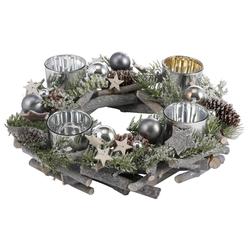 Home affaire Adventskranz, aus Echtholz für 4 Teelichter, Ø 30 cm