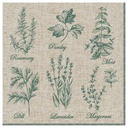 Linoows Papierserviette 20 Servietten, Duftende Küchenkräuter, Garten, Motiv Duftende Küchenkräuter, Garten Kräuter bunt