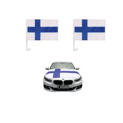 Sonia Originelli Fahne Auto Fan-Paket Haubenfahne Fensterfahnen Spiegelfahnen Magnetflaggen Finnland, Fanartikel für das Auto in Finnland-Farben Fanset-10