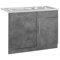 wiho Küchen Spülenschrank Cali, 110 cm breit, inkl. Tür/Sockel für Geschirrspüler grau Spülenschränke Küchenschränke Küchenmöbel