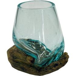 Guru-Shop Windlicht Teelichtglas aus Mundgeblasenem Glas auf.. braun