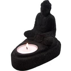 Guru-Shop Windlicht Stein Buddha Statue 11 cm