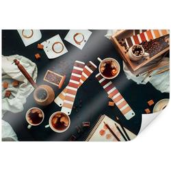 Wall-Art Poster Farbkarte Kaffee Bilder Coffee, Kaffee (1 Stück), Poster, Wandbild, Bild, Wandposter 100 cm x 70 cm x 0,1 cm