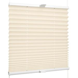 SchattenFreude Plissee nach Maß für Fenster & Tür   Zum Anschrauben in der Glasleiste   Creme, Breite: 1301-1400mm x Höhe: 1001-1500mm