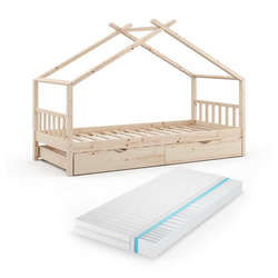 VitaliSpa® Kinderbett DESIGN HausbettGästebett LattenrostNatur 90x200 Matratze