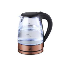 Lentz Wasserkocher Wasserkocher Glas LED 1,7 Liter, 1.7 l braun