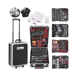 TRESKO Werkzeugkoffer, Werkzeugkasten 949 teilig Werkzeugkoffer Werkzeugkiste Werkzeugtasche Werkzeug Set Werkzeug-Trolley Chrom-Vanadium Stahl schwarz