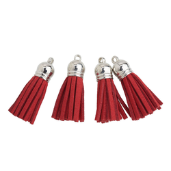 VBS Anhänger Set Lederquasten, 4 Stück rot