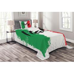 Tagesdecke Set mit Kissenbezügen Waschbar, Abakuhaus, Italien Italienische Flagge Bunte Grunge 170 cm x 220 cm