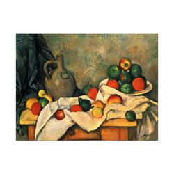 Bilderdepot24 Wandbild, Paul Cézanne - Stillleben mit Vorhang, Krug und Obstschale bunt 80 cm x 60 cm
