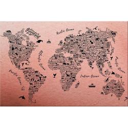 Metallbild Weltkarte - Around the world, Maße (B/T/H): (120/0,3/75 cm)