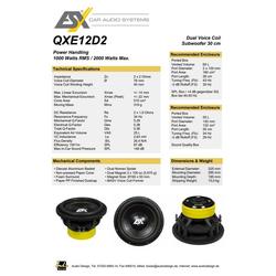 ESX Subwoofer (ESX QXE12D2, 30 cm (12) Subwoofer mit 2 + 2 Ohm und 1000/2000 Watt RMS/max)