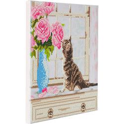 Crystal Art Kit auf Holzrahmen-Leinwand - Katze, 30 x 30 cm mehrfarbig