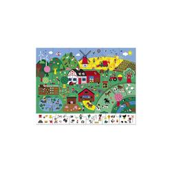 Janod Puzzle Puzzle Bauernhof mit Suchspiel, 24 Teile, Puzzleteile
