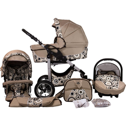 bergsteiger Kombi-Kinderwagen Capri, beige circles, 3in1, (10-tlg), Made in Europe; Kinderwagen