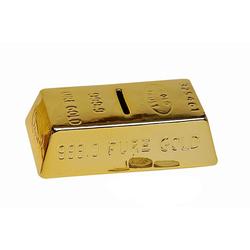 G. Wurm Spardose Goldbarren Sparschwein abschließbar goldfarben 16 cm