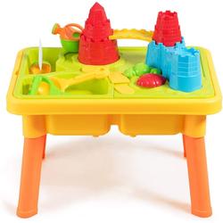 COSTWAY Wasserspieltisch Sandkastentisch Kinderspieltisch Strandspielzeug-Set, (21 teilig) 42 cm x 59 cm x 37 cm