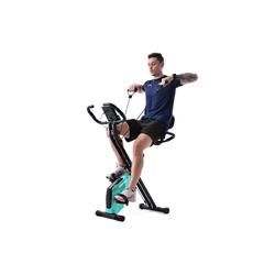 Merax Heimtrainer, X-Bike mit Pulssensoren, Fitnessrad für Heimtrainer, gepolsterter Sitz und Rückenlehne blau