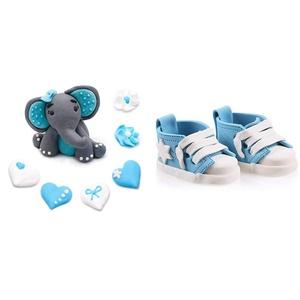 Bombasei, 7 teiliges Marzipan Kinder Geburtstag Elefanten Set hellblau 37 g & Paar Zucker Fondant Babyschuhe blau 150 g, süss, 2 stück