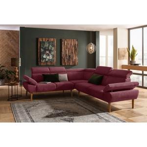 Premium collection by Home affaire Ecksofa Trapino, Mit Kopf- und Armteilverstellung, langer Schenkel wahlweise links oder rechts, 3 Bezugsqualitäten lila
