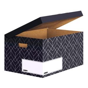 Fellowes Klappdeckelbox Maxi Décor Serie blau, 291 x 367 x 570 mm, Attraktive Aufbewahrungsbox mit Deckel, Farbe: mitternachtsblau