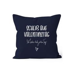 MoonWorks Dekokissen Kissen-Bezug Geschenk Valentinstag Scheiß auf Valentinstag Ich liebe dich jeden Tag Valentinstagsgeschenk Kissen-Hülle Deko-Kissen Baumwolle MoonWorks® blau
