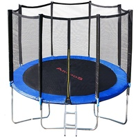 Arebos Trampolin 305 cm inkl. Sicherheitsnetz und Leiter schwarz/blau
