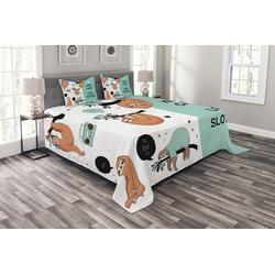 Tagesdecke Set mit Kissenbezügen Waschbar, Abakuhaus, Tier Amerikanische Faul Tribe 220 cm x 220 cm