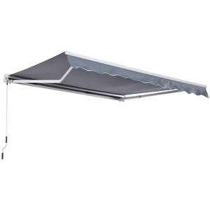 Outsunny Markise Gelenkarmmarkise Sonnenschutz mit Handkurbel 3,5x2,5m Grau Alu+Polyester