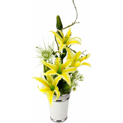 I.GE.A. Kunstpflanze Arrangement Lilien in Topf gelb Künstliche Zimmerpflanzen Kunstpflanzen Wohnaccessoires
