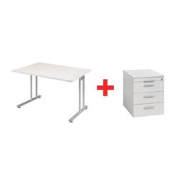 Möbel-Set »Lissabon« 2-teilig, Schreibtisch mit C-Fuß und Standcontainer breit grau, Geramöbel
