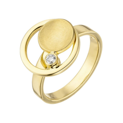 JOBO Diamantring, 585 Gold mit Diamant 0,06 ct. 58