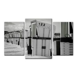 Bilderdepot24 Leinwandbild, Leinwandbild - Strandkörbe - schwarz weiß 100 cm x 60 cm