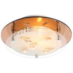 Decken Chrom Glas Leuchte Opal Kristalle braun Esszimmer Lampe Globo AYANA 40413