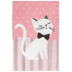 Kinderteppich Lollipop - Katze - Rosa/Beige