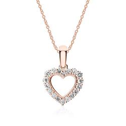 Herzkette aus 585er Roségold mit Diamanten