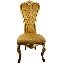 Casa Padrino Barock Thron Stuhl Queen Anne Gold Muster / Gold  - Hochlehnstuhl - Hochlehner