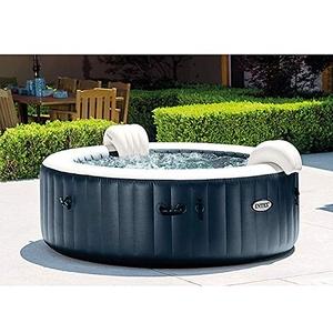Intex Pure Spa Außen-Whirlpool 85 Bubble Massage für 6 Personen Ø x H: 216 x 71 cm, Kalkschutzsystem 10 W, Laminiertes Vinyl, Navy