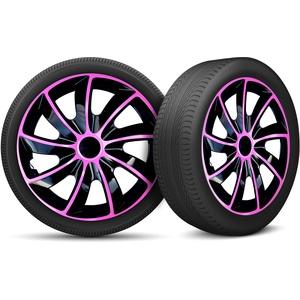 Auto Radkappen Radzierblenden 4er Set passend für alle Stahlfelgen - Einstellbarer Sicherungsring - 17 Zoll - Schwarz Rosa Pink