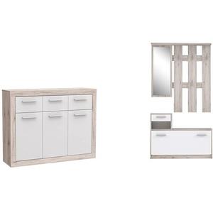 FORTE Baccio Kommode, Holz, sandeiche/weiß, 117.90 x 34 x 91.50 cm & Kompaktgarderobe inklusive Spiegel, Sandeiche Dekor, 97.5 x 25 x 180 cm