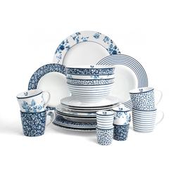 LAURA ASHLEY BLUEPRINT COLLECTABLES Geschirr-Set Mix Designs China Rose, Sweet Allysum, Floris und Candy Stripe., (Set, 24 tlg.) weiß Geschirr-Sets Geschirr, Porzellan Tischaccessoires Haushaltswaren