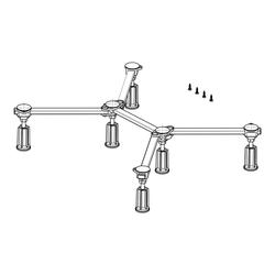 poresta Ferroplast® D6 Standard Duschwannenfuß für Acryl- und Stahlduschwannen von 75 x 75 cm bis 100 x 100 cm